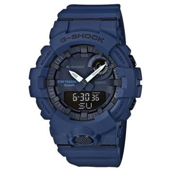 【CASIO 卡西歐】G-SHOCK 時尚雙顯男錶 樹脂錶帶 手機藍牙連線功能 防水200米(GBA-800-2A)
