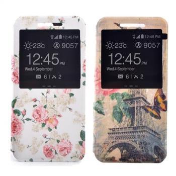 Sony C5 時尚彩繪手機皮套 側掀支架式皮套 鄉村薔薇/巴黎玫瑰