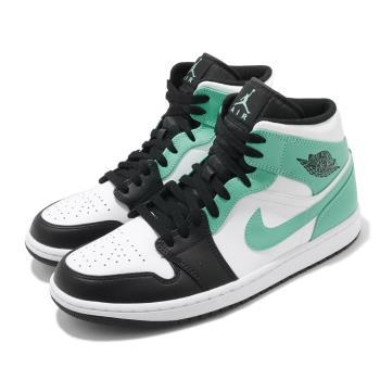 Nike 休閒鞋 Air Jordan 1代 Mid 男鞋 AJ1 喬丹 蒂芬妮綠 8孔 白 綠 黑 554724132 554724-132