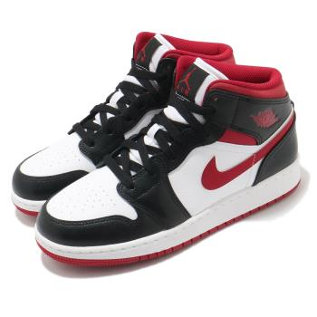 Nike Air Jordan 1代 Mid GS 女鞋 休閒 AJ1 喬丹 8孔 白 黑 紅 DJ4695122 [ACS 跨運動]