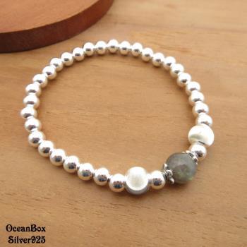 【海洋盒子】優雅灰月光石閃亮銀珠925純銀手鍊.彈性手鍊