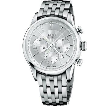 Oris Artelier 復刻三眼計時機械腕錶-銀/44mm 0167676034051-0782273