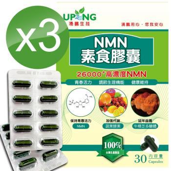 【湧鵬生技】高濃度NMN素食膠囊26000+3入組(NMN:藻精蛋白:每盒30顆:共90顆)