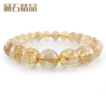 【藏石精品】5A級天然鈦晶手珠 10mm Z38
