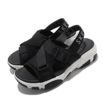 Skechers涼拖鞋Daddy-O-Dibs女鞋厚底增高鬆緊帶夏日穿搭透氣黑白163051BLK[ACS跨運動]