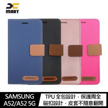 XMART SAMSUNG Galaxy A52/A52 5G 斜紋休閒皮套