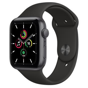 【福利新品】Apple Watch SE(GPS)44mm太空灰色鋁金屬錶殼+黑色運動錶帶