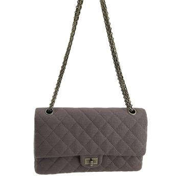 ⭐CHANEL 灰色菱格紋帆布銀鍊肩背斜背2.55 CoCo包【九成新展示品】