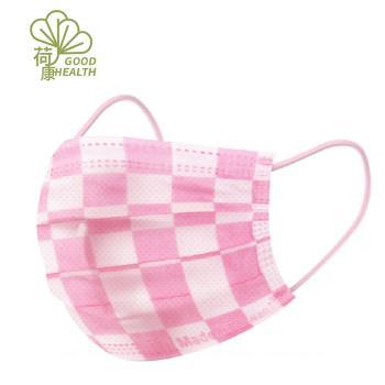 【荷康】醫用醫療口罩 雙鋼印 台灣製造_粉格紋(30/盒)
