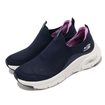 Skechers休閒鞋ArchFit-KeepItUp女鞋專利鞋墊郊遊健走回彈避震舒壓藍白149415NVPR
