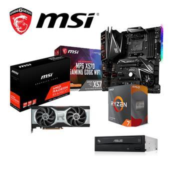 微星6700組合Radeon RX6700XT 12G+ R7-3800XT+微星 MPG X570 GAMING PLUS+24D5 (裸)*3