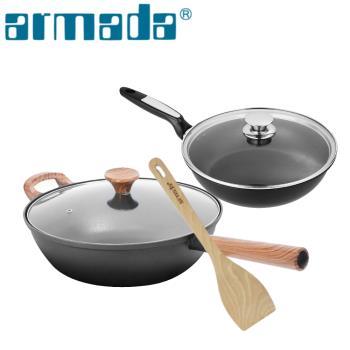 【ARMADA】復古原味不沾鍋32CM+26CM不沾平底鍋(送木鏟)