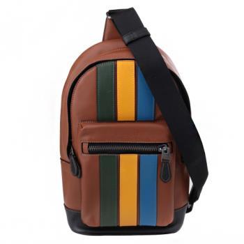 COACH 壓印LOGO條槓皮革直式男側/前胸包(咖X黃X藍綠)
