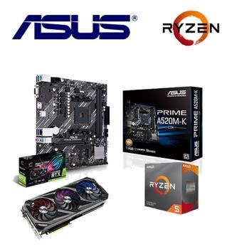 華碩3090組合STRIX RTX3090 O24G GAMING+ PRIME A520M-K/CSM*10+ R5-3600 *10