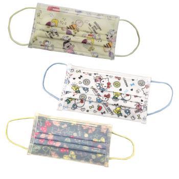 【收納王妃】[Sanrio三麗鷗]KITTY凱蒂貓 史努比Snoopy 成人/兒童 防護平面口罩 正版授權(30入/盒)