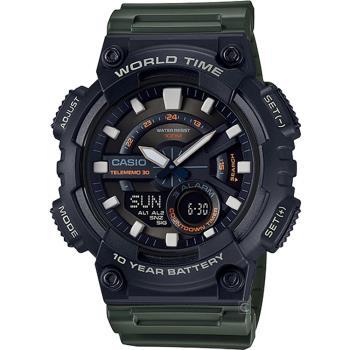 CASIO 10年電力數位雙顯錶(AEQ-110W-3A)