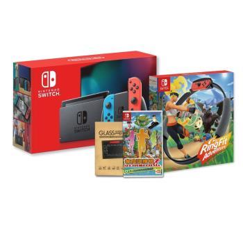 【NS 任天堂】Switch 紅藍主機 電量加長型(台灣公司貨)+《健身環+家庭訓練機》+《保護貼》