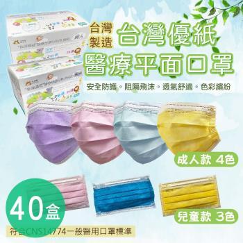 台灣優紙 成人&兒童醫療級平面口罩(50片/盒) x40盒