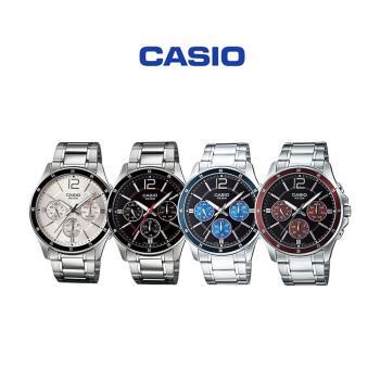 CASIO卡西歐 MTP-1374D 商務紳士三眼計時不鏽鋼腕錶系列