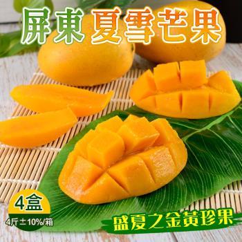 【禾鴻】盛夏之黃金珍果-台東夏雪芒果淨重4斤x4盒