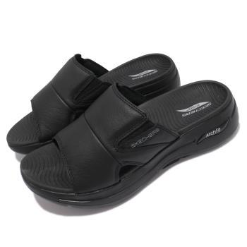 Skechers 拖鞋 Go Walk Arch Fit 男鞋 休閒 專利鞋墊 避震 緩衝 外出 輕便 黑 229023BBK [ACS 跨運動]