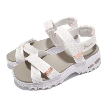 Skechers 涼鞋 D Lites 休閒鞋 魔鬼氈 女鞋 吸震 耐磨 修飾腿部線條 瑜珈鞋墊 白 金 119241WTRG [ACS 跨運動]