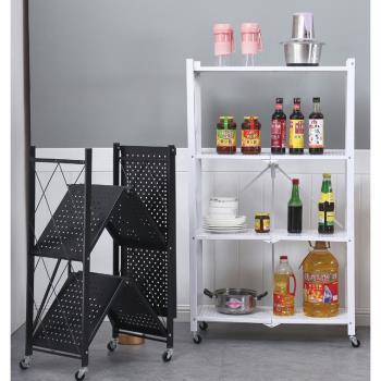 『環球嚴選』3層免安裝多層可移動式折疊架子/廚房/微波爐/收納架 H0066