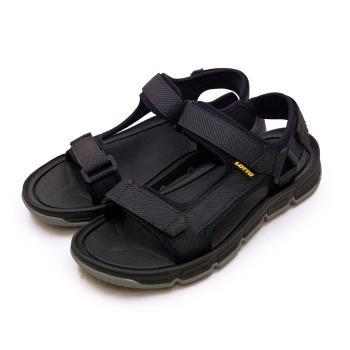 【LOTTO】男 輕量織帶戶外運動涼鞋 城市輕履系列(黑灰 1670)
