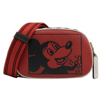 COACH C1141 迪士尼聯名 撞色米奇迷你相機包.紅/黑