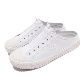 Skechers 休閒鞋 Street Trax-Cul De 女鞋 帆布穆勒鞋 輕量 避震 緩衝 白 155386WHT [ACS 跨運動]