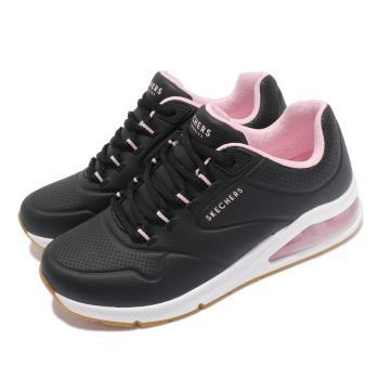 Skechers 休閒鞋 Uno 2-2nd Best 女鞋 街頭時尚 氣墊 支撐緩衝 耐用 皮革 黑 白 155542BLK [ACS 跨運動]
