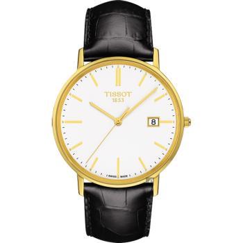 TISSOT天梭 18K金 Goldrun 石英錶-白x黑/38mm(T9224101601100)