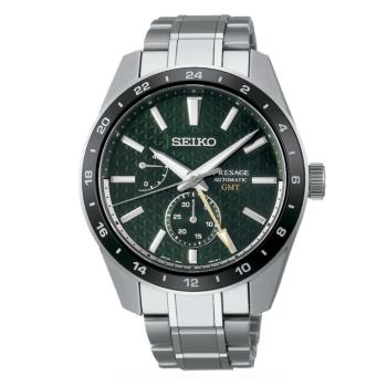 SEIKO 精工 PRESAGE 新銳系列 6R64-00C0G 麻葉圖騰GMT機械腕錶 (SPB219J1)