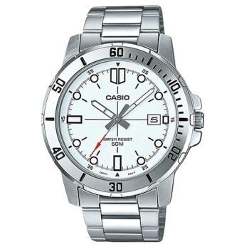 【CASIO 卡西歐】指針男錶 不鏽鋼錶帶 日期顯示 防水50米(MTP-VD01D-7E)