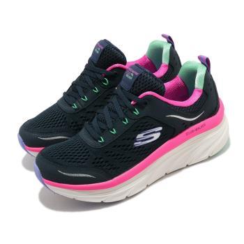 Skechers 休閒鞋 D Lux Walker 微增高 女鞋 健走 記憶型泡棉鞋墊 緹花網布 透氣 藍 粉 149023NVMT