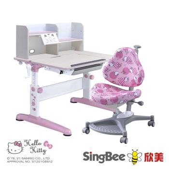 【SingBee 欣美】Hello Kitty-手搖L桌椅組(兒童書桌椅/可升降桌椅/成長桌椅組/兒童成長書桌/台灣製)