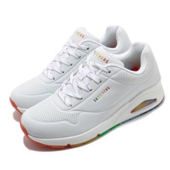Skechers 休閒鞋 Uno Rainbow Peaks 女鞋 氣墊 增高 靈活 支撐 記憶型泡棉鞋墊 白 彩 155133WHT