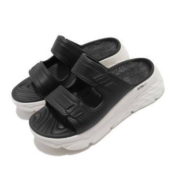 Skechers 涼拖鞋 Max Cushioning 女鞋 輕量 耐磨 厚底 增高 夏日 黑 白 111125BKW [ACS 跨運動]