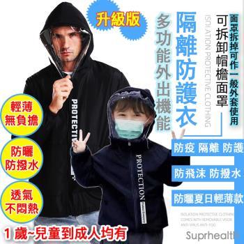 suprhealth 親子多功能可拆面罩機能隔離防護衣( 防飛沫 防撥水 防曬 超輕量 夏日輕薄升級款) 防疫 外套 面罩機能防護夾克