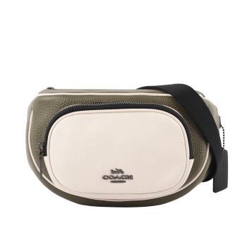 COACH 荔枝皮革拼色口袋腰包(卡其綠/白色/黑色) C3684 QBRO5