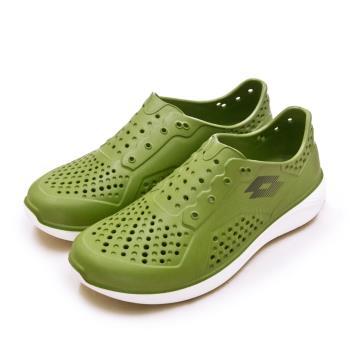 【LOTTO】男 晴雨穿搭戶外休閒運動涼鞋 ROVER洞洞鞋系列(綠灰 2615)