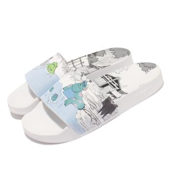 adidas 拖鞋 Adilette Lite 皮克斯聯名 男女鞋 愛迪達 輕便 情侶穿搭 大眼仔 毛怪 白 藍 GX0995 [ACS 跨運動]