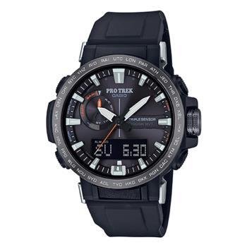 CASIO PRO TREK系列 太陽能雙顯戶外登山錶(PRW-60Y-1A)-黑x50mm