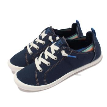 Skechers 休閒鞋 Beach Bingo 套入式 帆布 女鞋 後跟可踩 緩衝 可機洗 BOBS 藍 白 113998-NVY
