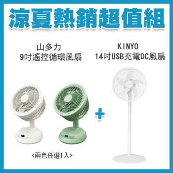 熱銷風扇超值組★KINYO 14吋USB行動充電DC風扇DCF-1496+SDL山多力 9吋遙控循環風扇 SL-MFV09 -庫