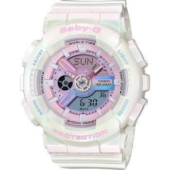 CASIO 卡西歐 Baby-G 極光舞動炫彩計時手錶-極光白X粉(BA-110PL-7A1)