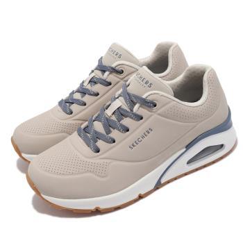 Skechers 休閒鞋 Uno Highlines 氣墊 女鞋 支撐 緩衝 修飾腿部線條 耐磨耐用 淺褐 藍 155172-NTBL