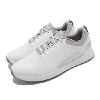 Skechers 高爾夫球鞋 Go Golf Elite 4 男鞋 緩衝 緩震 疏水 皮革鞋面 輕巧 靈敏 白 灰 214022-WGY