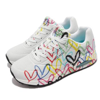 Skechers 休閒鞋 Uno Spread The Love 女鞋 聯名 氣墊 Lovewall 支撐 緩衝 白 多 155507-WMLT