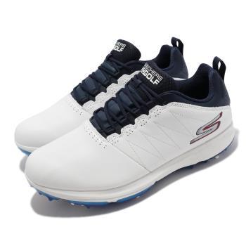 Skechers 高爾夫球鞋 Go Golf PRO 4 男鞋 緩衝 緩震 防水 皮革鞋面 輕巧 靈敏 白 藍 214001-WNV